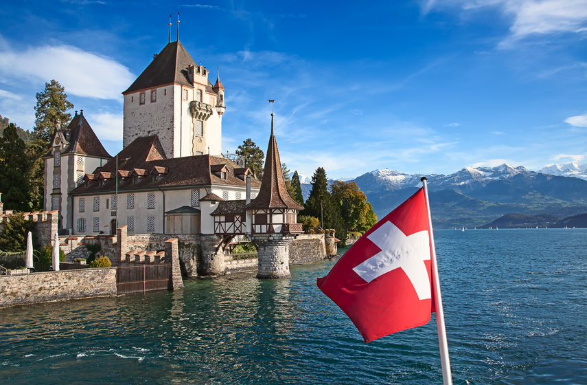 24853809 - oberhofen castle on the lake thun, switzerland